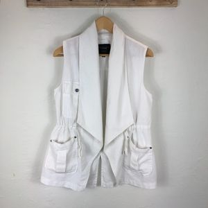 Sanctuary White linen Vest from anthropologie